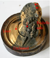 Decorative element (Prophet Head) cleaned by a chemical solution and by laser